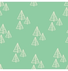 Christmas seamless tree doodles pattern vector