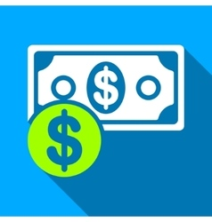 Money cash flat long shadow square icon vector