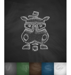 Hipster hippo icon hand drawn vector