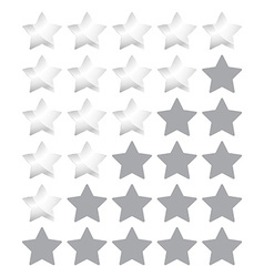 Star rating with silver stars vector