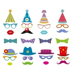 Birthday party photo booth props set vector