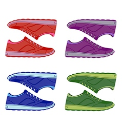 Pair unisex colored suede sneakers shoes side view vector