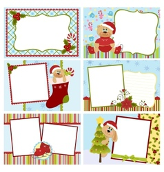 Collection of christmas greetings cards vector