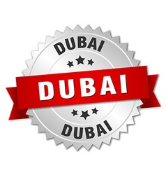 Dubai round silver badge with red ribbon vector