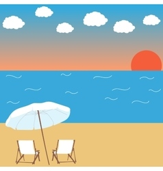 sunset on the beach background vector image