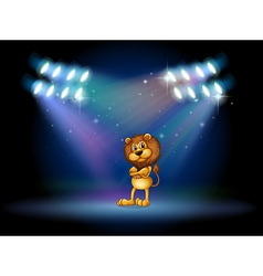 A lion standing at the stage with spotlights vector