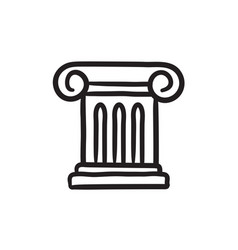 Ancient column sketch icon vector