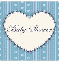 Baby shower with heart blue vintage vector image vector image