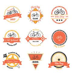 Bicycle club oldschool emblems vector