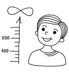 Boy looks at a scale showing the increase in value vector image