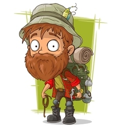 Cartoon bearded man with spoon and piolet vector image vector image