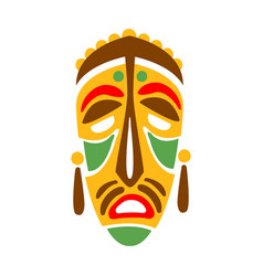 carved wooden mask with human face native indian vector image