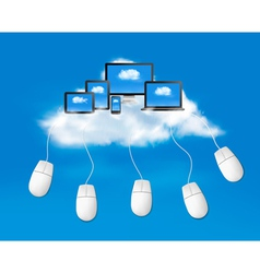 Cloud computing concept background with mouses vector image vector image