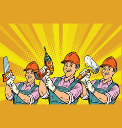 construction worker with the repair tools vector image