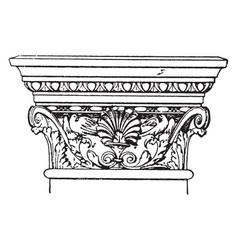 Corinthian pilaster capital elements vintage vector