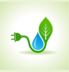 Eco energy concept with leafplug and water droplet vector