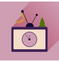 Flat icon with long shadow christmas tv vector