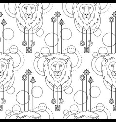 Geometric lion seamless pattern vector