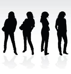 Girl black posing silhouette vector