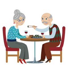 Happy cartoon grandparents vector