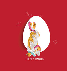 happy easter egg and doodle bunny greeting card vector image