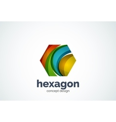Hexagon logo template cell concept vector image