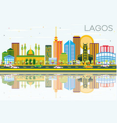 lagos skyline with color buildings blue sky and vector image vector image