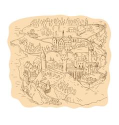 Medieval fantasy map drawing vector