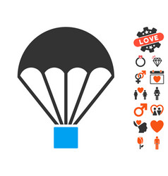 Parachute icon with love bonus vector