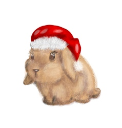 rabbit with christmas hat vector image vector image