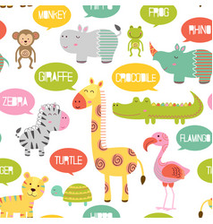 Seamless pattern with jungle animals vector