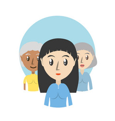 Set avatars women of different diversity over blue vector