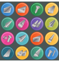 Set of metal profiles icons vector image vector image