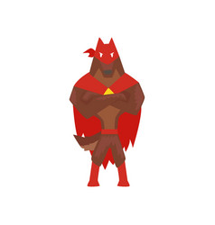 Superhero dog character standing with folded hands vector