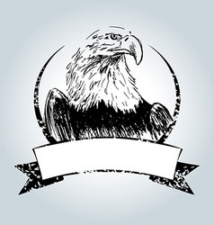 Vintage label with drawing eagle vector