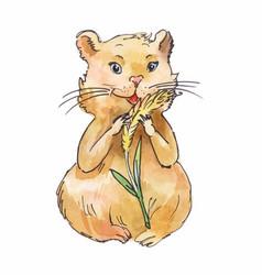 watercolor hamster eating corn sketch art vector image vector image