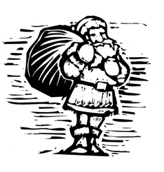 Woodcut Santa Claus vector image