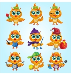 set of cute owls Cartoon characters of vector image
