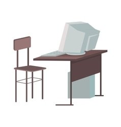 School Desk with Desktop Computer vector image