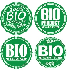Bio product 100 natural green signs set vector