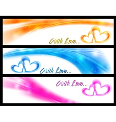 Waves banners with abstract hearts vector