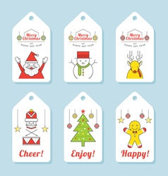 Christmas Characters Line Design Tag and Label vector image