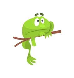 Sad green frog funny character hanging from the vector