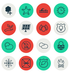 set of 16 eco-friendly icons includes sun power vector image