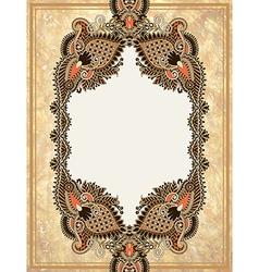 Ornamental floral frame in grunge background vector