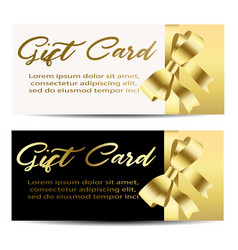 set of beautiful cards with gold gift bows with vector image
