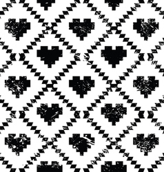 Seamless aztec tribal pattern with hearts - grunge vector image