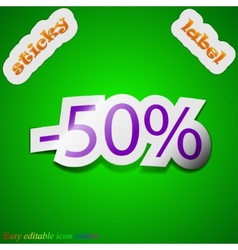 50 percent discount icon sign symbol chic colored vector