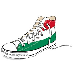 Hand draw modern sport shoes with hungary flag vector
