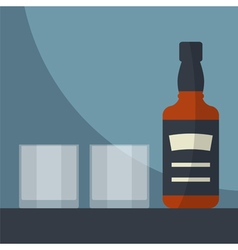 Whiskey and glasses vector